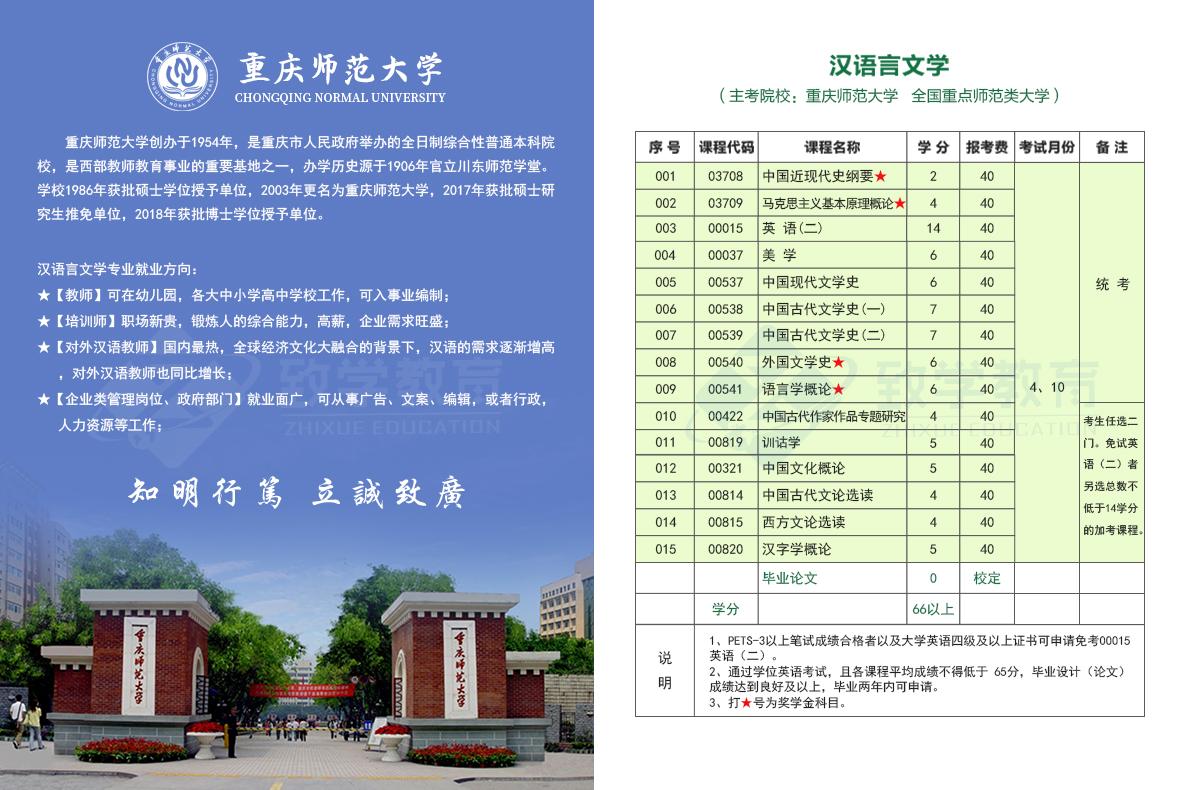 汉语言文学(本)自考科目